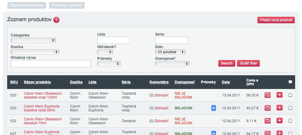 de800adf6 V zozname produktov nájdete zoznam produktov vo vašom eshope. Na tejto  súhrnnej obrazovke nájdete najdôležitejšie údaje týkajúce sa každého  produktu: